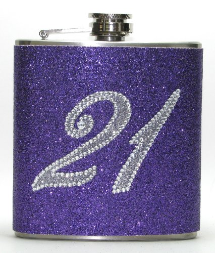 (21st Birthday Purple Rhinestone Glitter Sparkly 8 oz Stainless Steel Hip Flask Gift by Giggle Juice Flasks)