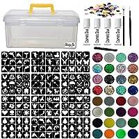 Glitter Tattoo Kit - Jumbo Girls Boys Princess Super Hero 288 Stencils Brushes Glitter Pots Gems Clear Box Adhesive (Complete Kit 45)