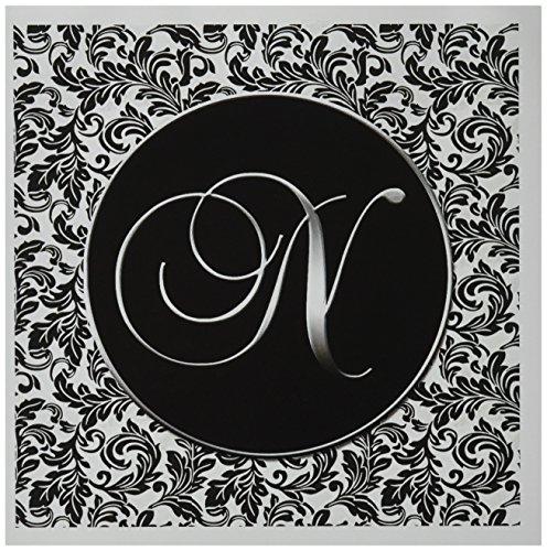 3drose 20,3x 20,3x 0,6cm Buchstabe N–Schwarz und Weiß Damast Grußkarte, Set 12(GC _ 38763_ 2)