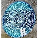 HANDICRAFTOFPINCITY Hippie Indian Peacock Mandala Round Roundie Towel Throw Tapestry Beach Yoga Mat by HANDICRAFTOFPINKCITY
