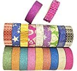 20 rollos de cinta adhesiva decorativa de LAAT, con purpurina, para escuela, oficina y álbum de recortes, cinta washi de vinilo, para decoración,Color aleatorio