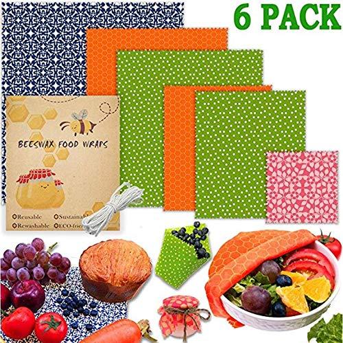 Yorwd Lot de 6 emballages alimentaires en cire d'abeille réutilisables et écologiques en tissu lavable pour fruits, légumes, sandwichs, fromage et pain