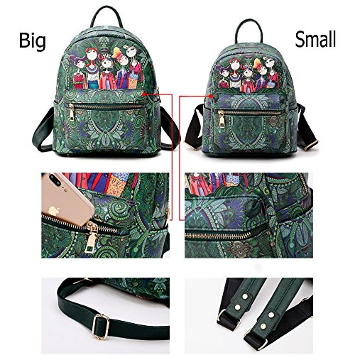 Women's Printing Backpacks Green Daypack for school and travel L014EU-Red-Large