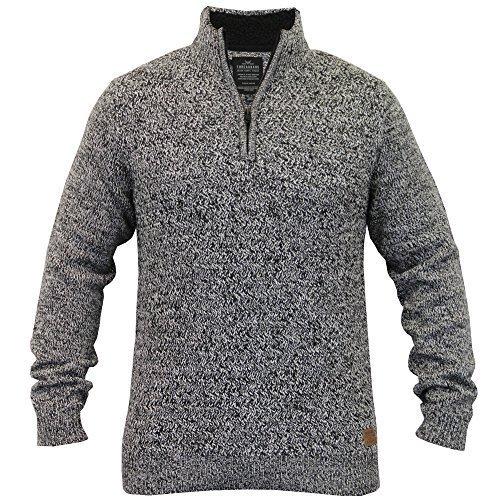 Herren Wollmischung Pullover Threadbare Strickpulli Sherpa Hochkragen Winter Neu Schwarz/Ecru - IMV039PKA