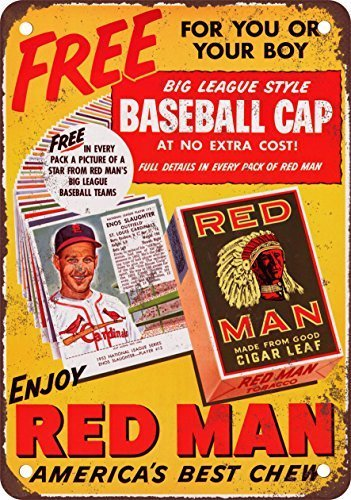 Toddrick Enos Slaughter for Red Man Chewing Tobacco Zinn schicke Zeichen Vintage-Stil Retro Küche Bar Pub Coffee Shop Dekor 8