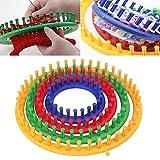 Uthome Strick-Loom-Werkzeuge, Kunststoff Strickbändchen mit Hakennadel, rundes Loom-Set, Strickwerkzeug, Strickbrett (zufällige Farbauswahl) Round