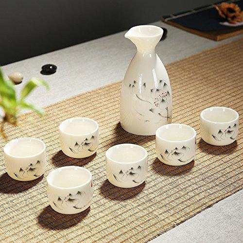 service-a-sake-coupe-a-sake-japonais-traditionnel-ensemble-peinte-a-la-main-dencre-motif-lotus-porce