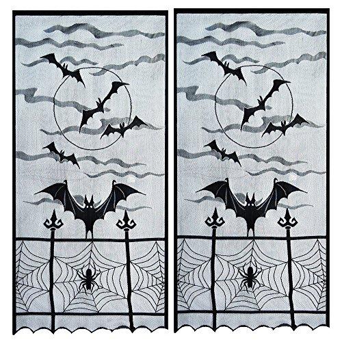 Topbuti Halloween Fenster Vorhang Querbehang, PCAK von 2Schwarz Spider Web Querbehang Fenster Vorhang Spuk-Fenster Tür Vorhang Panel Decor für Spooky Halloween Party Home Dekoration