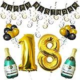 """BELLE VOUS Happy Birthday Luftballons Banner Dekoration Set zum 18. Geburtstag Umfasst Aufblasbare Champagnerflaschen, 101,6cm Gold Nummer """"18"""" u. Ballons - Dekoratives Party Zubehör Deko Set"""