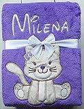 Babydecke mit Namen und Datum bestickt  Baby Geschenke  Geburt  (Violett - Katze)
