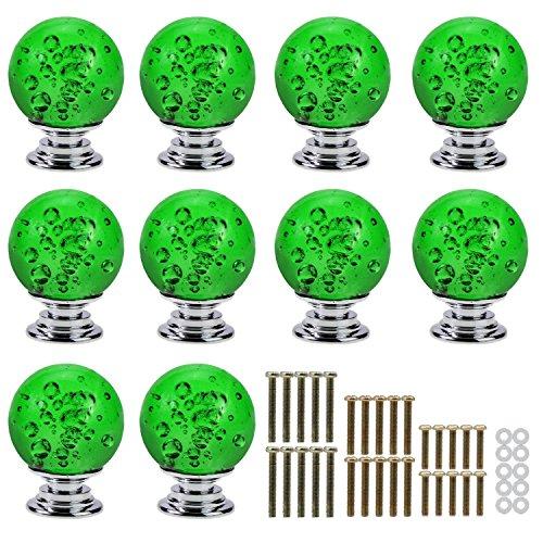 psmgoods® Kristall klar Glas Schublade Knöpfe mit Bubble Ball Schrank Tür Knöpfe Küche Schrank Knöpfe Pull Griff, grün, Beige -