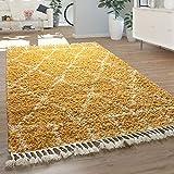 Paco Home Morbido Tappeto Shaggy a Pelo Alto per Il Soggiorno in Giallo con Motivo berbero e Design Orientale, Dimensione:60x100 cm