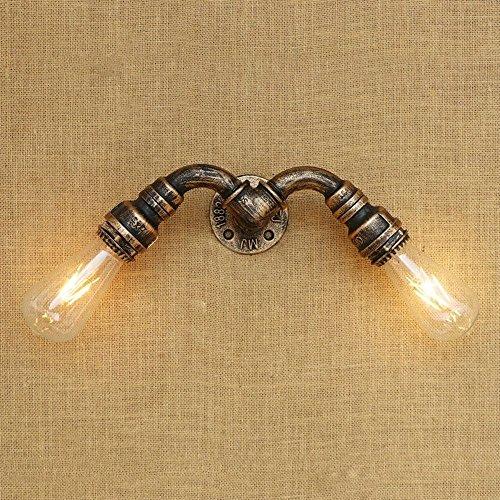 Welampa Doppelkopf-Metallindustrielle Retro- Kreativität-Wand-Lampen-Wand-Scheinwerfer-Eisen-Kunst-Edison-Weinlese-Wasser-Rohr-Wand-Licht-Wandleuchter Amerikanische Nostalgie-Wand-Laterne für Bar-Sche -