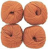 "CRELANDO® 4x Klassik-Strickgarn ""Meli"" à 50g, 100 % Merino-Wolle (Apricot)"