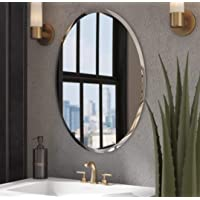 Quality Glass Decorative Frameless Oval Mirror for Wall Bathrooms Home (18 x 24 inch, Silver)