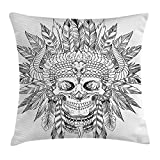 Jolly2T Tattoo Decor Throw Pillow Cushion Cover by, Grunge Style Furious Looking Skull on a Brick Wall Illustration Art Print, Decorative Square Accent Pillow Case, 18 X 18 Inches, Black and White