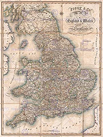 1830 PIGOT POCKET MAP ENGLAND AND WALES VINTAGE POSTER AFFICHE ART PRINT 12x16 inch 30x40cm 2884PY