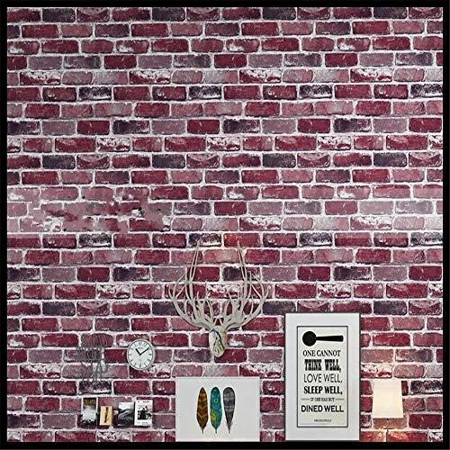 Tapeten Wandbild WandaufkleberRetro Nostalgie 3D Stereo Ziegel Tapete Cafe Bar Restaurant Kultur Stein Red Brick Wall Papier Papel De Parede (Papier Brick Red)