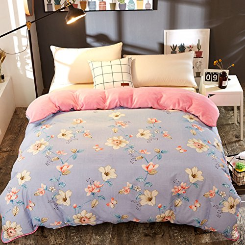 GX&XD Verdicken sie Flanell Bettbezug, Tröster Cover gedruckt Reißverschluss Allergiker-geeignet Weich atmungsaktiv Bettwäscheset-M 180x220cm(71x87inch) -