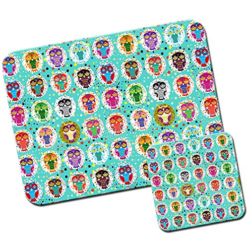 big-eye-gufo-carta-da-parati-tappetino-per-mouse-pad-e-set-di-sottobicchieri-lots-of-dots-owls