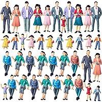 Polai 40 Piezas 1:25 Escala Personas Maqueta Personas Miniatura Maqueta Figuras para Modelismo Ferroviario, Jardines de Hadas, Manualidades