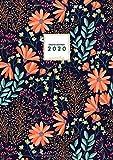 Grand Agenda 2020 Journalier: Agenda 2020 A4 - 2 Pages par Jour - Agenda Janvier - Décembre 2020 - Agenda Calendrier 2020 - Grand format 21x29,7cm - Motif Floral Noir