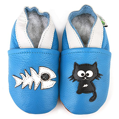 AUGUSTA BABY Baby Boys Girls First Walker Soft Sole Leather Baby Shoes - Cat & fish - EU Size 21