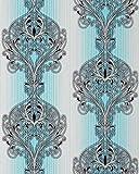 3D Barock Tapete EDEM 096-22 Tapete Damask prunkvolle Ornament-Designs türkis blau grau weiß silber schwarz | 5,33 qm
