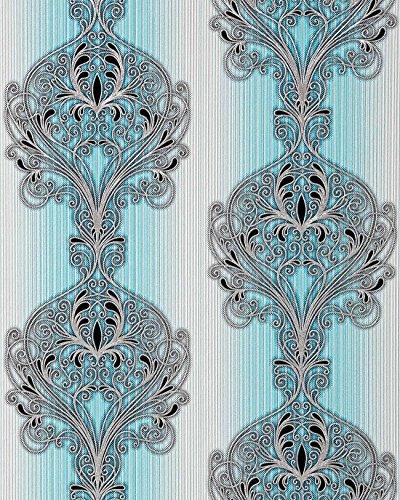 3D Barock Tapete EDEM 096-22 Tapete Damask prunkvolle Ornament-Designs türkis blau grau weiß...