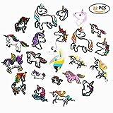DoBestLJZ 22 Stück Einhorn Patches Zum aufbügeln Sticker Applikationen Regenbogen Pferd Zum Nähen Oder Aufbügeln, Niedlich DIY Kleidung Patches Aufkleber für T-Shirt Jeans Kleidung Taschen