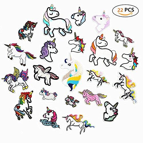 DoBestLJZ 22 Stück Einhorn Patches Zum aufbügeln Sticker Applikationen Regenbogen Pferd Zum Nähen...