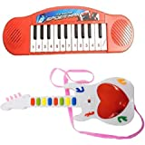 New Pinch Mini Educational Learning Musical Piano & Musical Mini Guitar Instrument with 3D Lighting & Sound for Kids