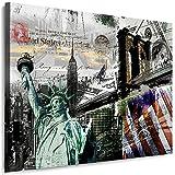Julia-Art Leinwandbilder Skyline - New York Bilder - XXL Wandbild mit Keilrahmen - 40 mal 30 cm - Querformat 1 teilig - Schwarz Weiß Kunstdrucke Stadt NY City Statue, Brücke verschiedene Motive N-c-100-a-99
