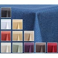 Tovaglia in tessuto - effetto lino - impermeabile, rotonda, 140 cm - colore a scelta blu