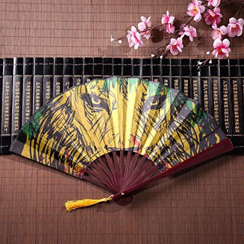 EIJODNL Hand tragbare Fan Rasta Thema Löwenkopf auf schwarz mit Bambus Rahmen Quaste Anhänger und Stoffbeutel chinesische Hand Fan Bambus Fan Fan Hand