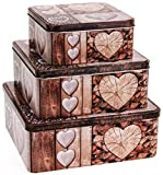 3er Set Keksdose im Landhausstil - Plätzchendose auch für Weihnachten - Blechdose Keksbox