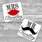 Personalised wooden wedding favour coasters gift lips and moustache design
