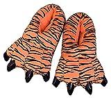 Adulto Niños Suave Terciopelo Garra Animal Unisex Espesar Calido Zapato Zapatilla (Hombres EU:39-43, Tiger)