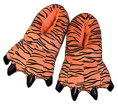 Tiere Tragen Kostüm - baiou Cartoon Unisex Soft Plüsch Haus Hausschuhe Tier Kostüm Pfote Dinosaurier Claw Schuhe (Kinder EU:29-34, Tiger)