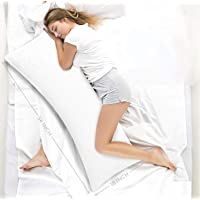 Ultra Soft Body Pillow - Long Side Sleeper Pillows for Use During Pregnancy - 100% Cotton Soft White Stripes with Soft…
