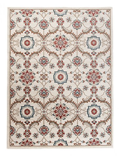 Orientalische Blättern (Großer traditioneller Perserteppich - Creme Rot - Orientalisches Muster - Blumen Blätter Ornamente - Top Qualität Pflegeleicht Teppich