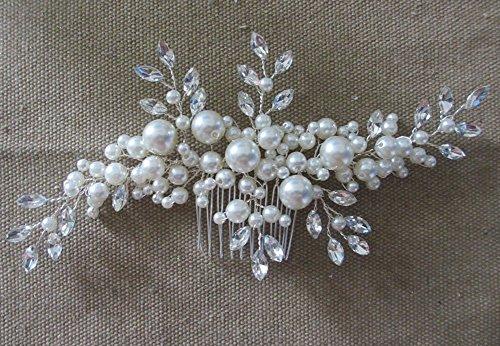 Creme simulierte Perlen ?sterreichischen Kristall-Bl?tter Brauthaar Kamm Hochzeit Accessories - 4