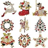 Elegant Rose Noël Broche broches 9 multicolores strass cristal Xmas Cadeau pour bijoux Ornaments cadeaux de Noël