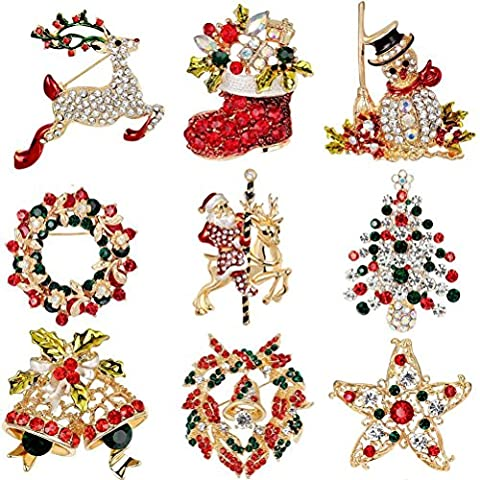 Elegant Rose 9 Pieces Multi-colored Christmas Brooch Pin Set Santa Claus,Snowman,Jingle Bells,Star,Garland,Reindeer,Christmas Tree Christmas Gift for Christmas Decorations Ornaments