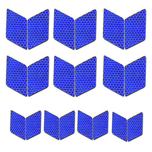 Maiqiken 10pcs nastro adesivo riflettente blu universale auto moto bicicletta stickers 60 x 30mm