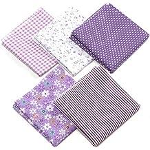 5pcs Tela Patchwork Algodon Ropa de Manualidades Costura Quilting Bundle Plaza 50x50cm (Púrpura)
