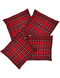 Red Tartan Pillow Case Throw Cushion Cover Burns Night Christmas Decoration