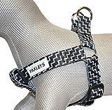 paxleys Luxus Schwarz und Weiß Zickzack Hundegeschirr Größen Medium und Large