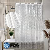NATIONALMASTER Shower Curtain 180 x 200cm, 3D Effect Shower Curtains Mould Proof Resistant Anti-Bacterial, FDA Approved, 100% EVA Waterproof Bathroom Curtains with 14 Curtain hooks