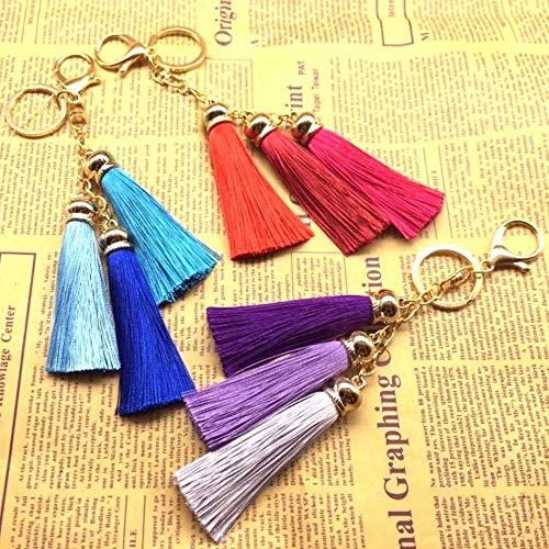 MNCJD Schlüsselbund Mode EIS Seide Quaste Schlüsselanhänger Auto Key Ring Damen Tasche Anhänger Schmuck Original Handgemachte Schmuck (3 Pcs)